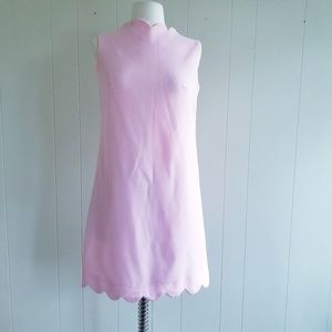 1960s Allegro New York Pale Pink Poly Shift Dress